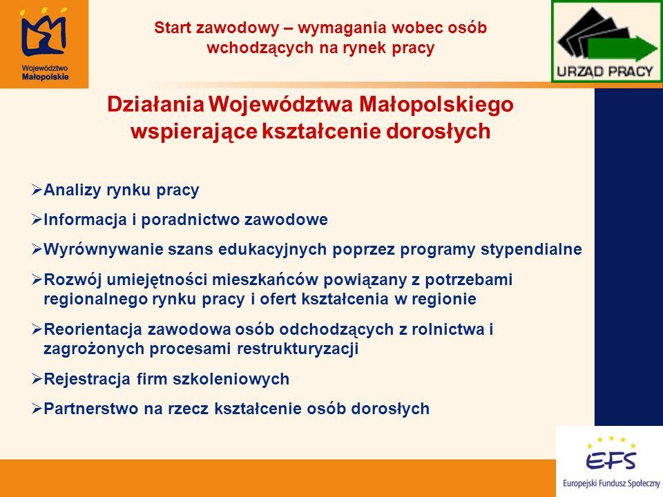 18 Działania Województwa Małopolskiego wspierające kształcenie dorosłych Analizy rynku pracy Informacja i poradnictwo zawodowe Wyrównywanie szans edukacyjnych poprzez programy stypendialne Rozwój umiejętności mieszkańców powiązany z potrzebami regionalnego rynku pracy i ofert kształcenia w regionie Reorientacja zawodowa osób odchodzących z rolnictwa i zagrożonych procesami restrukturyzacji Rejestracja firm szkoleniowych Partnerstwo na rzecz kształcenie osób dorosłych Start zawodowy – wymagania wobec osób wchodzących na rynek pracy