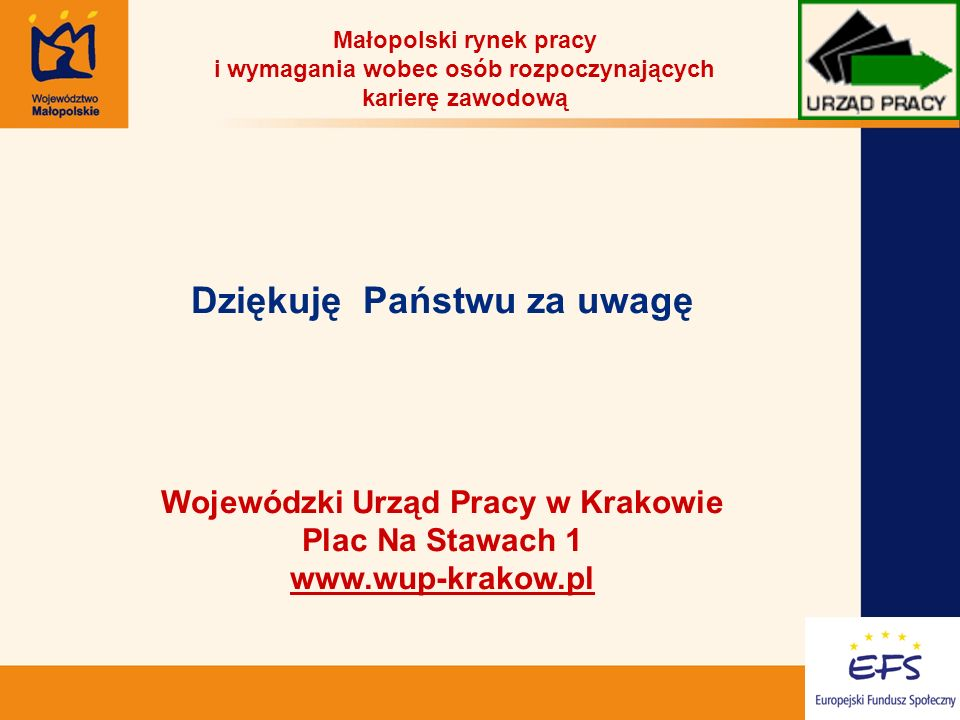 19 Dziękuję Państwu za uwagę Wojewódzki Urząd Pracy w Krakowie Plac Na Stawach 1 www.wup-krakow.pl Małopolski rynek pracy i wymagania wobec osób rozpoczynających karierę zawodową