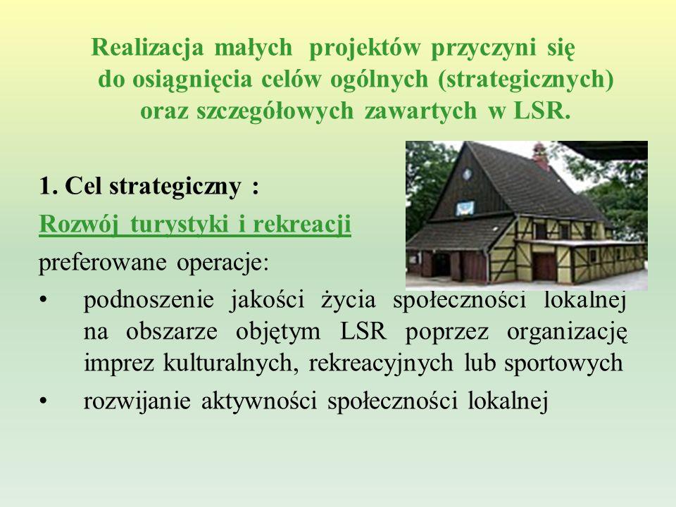 Realizacja małych projektów przyczyni się do osiągnięcia celów ogólnych (strategicznych) oraz szczegółowych zawartych w LSR.