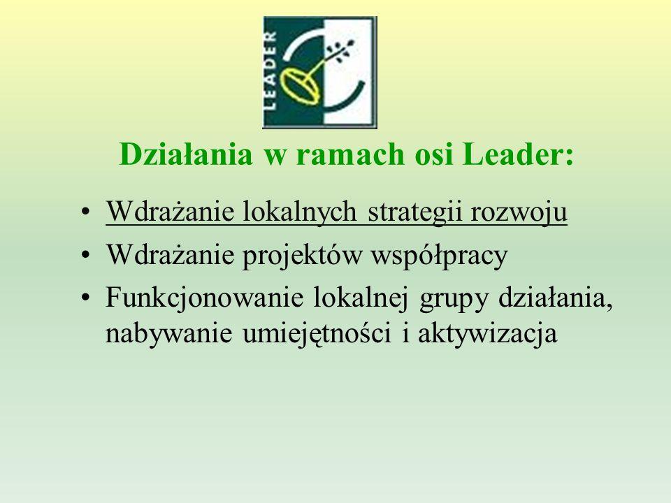 Działania w ramach osi Leader: Wdrażanie lokalnych strategii rozwoju Wdrażanie projektów współpracy Funkcjonowanie lokalnej grupy działania, nabywanie umiejętności i aktywizacja