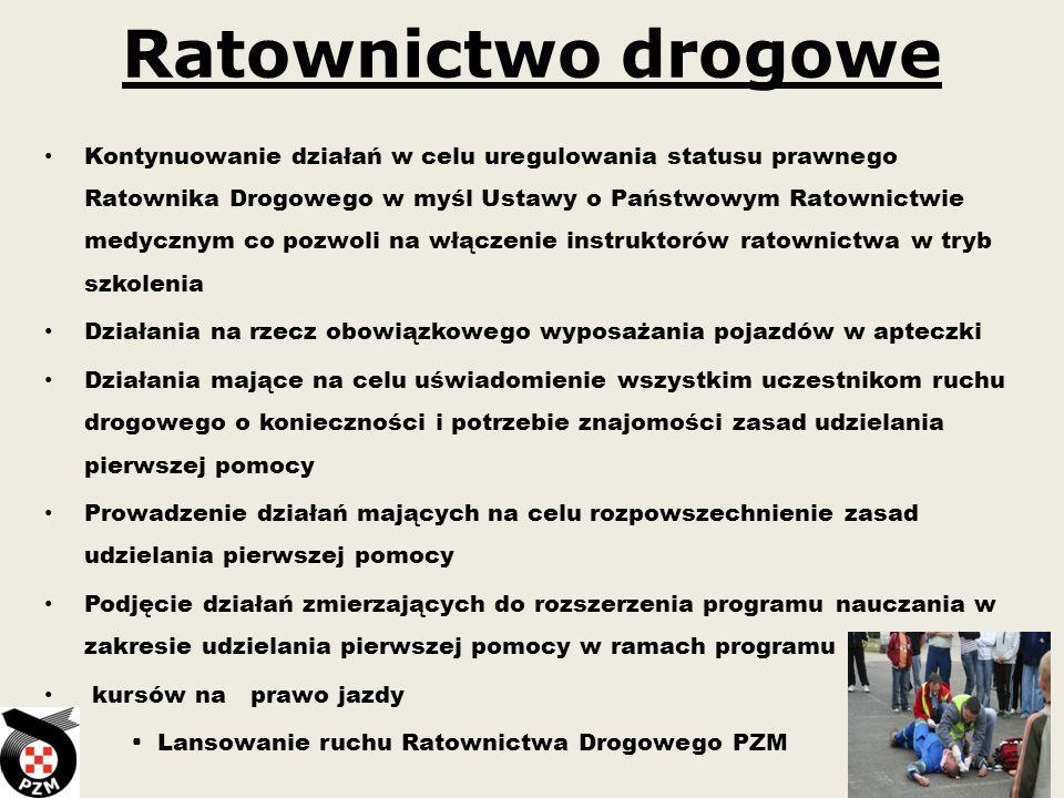 Ratownictwo drogowe Kontynuowanie działań w celu uregulowania statusu prawnego Ratownika Drogowego w myśl Ustawy o Państwowym Ratownictwie medycznym c
