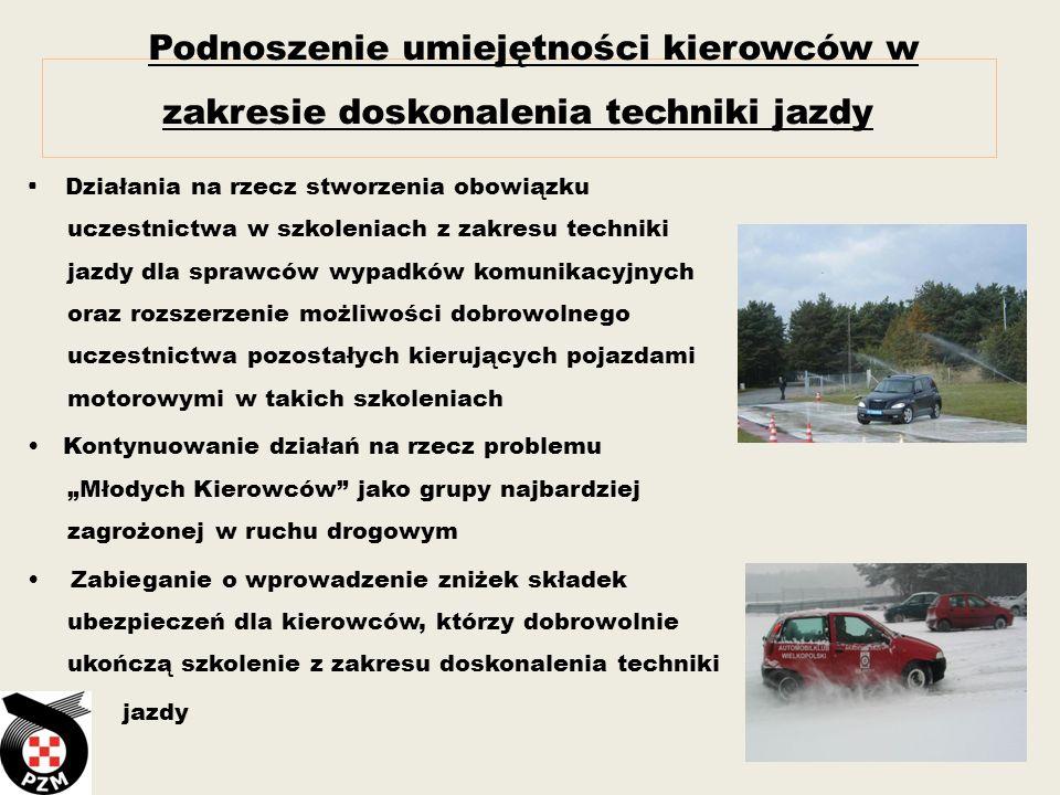 Podnoszenie umiejętności kierowców w zakresie doskonalenia techniki jazdy Działania na rzecz stworzenia obowiązku uczestnictwa w szkoleniach z zakresu