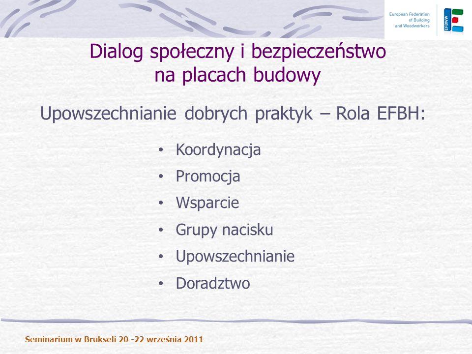 Upowszechnianie dobrych praktyk – Rola EFBH: Koordynacja Promocja Wsparcie Grupy nacisku Upowszechnianie Doradztwo Dialog społeczny i bezpieczeństwo na placach budowy Seminarium w Brukseli 20 -22 września 2011