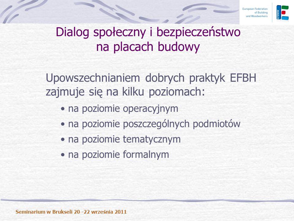 Upowszechnianiem dobrych praktyk EFBH zajmuje się na kilku poziomach: na poziomie operacyjnym na poziomie poszczególnych podmiotów na poziomie tematycznym na poziomie formalnym Dialog społeczny i bezpieczeństwo na placach budowy Seminarium w Brukseli 20 -22 września 2011