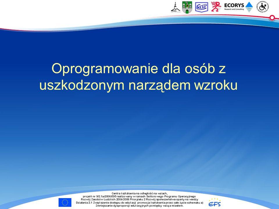 Oprogramowanie dla osób z uszkodzonym narządem wzroku