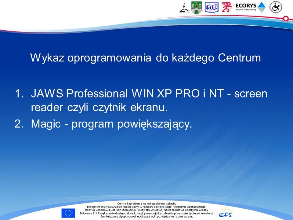 Wykaz oprogramowania do każdego Centrum 1.JAWS Professional WIN XP PRO i NT - screen reader czyli czytnik ekranu. 2.Magic - program powiększający.