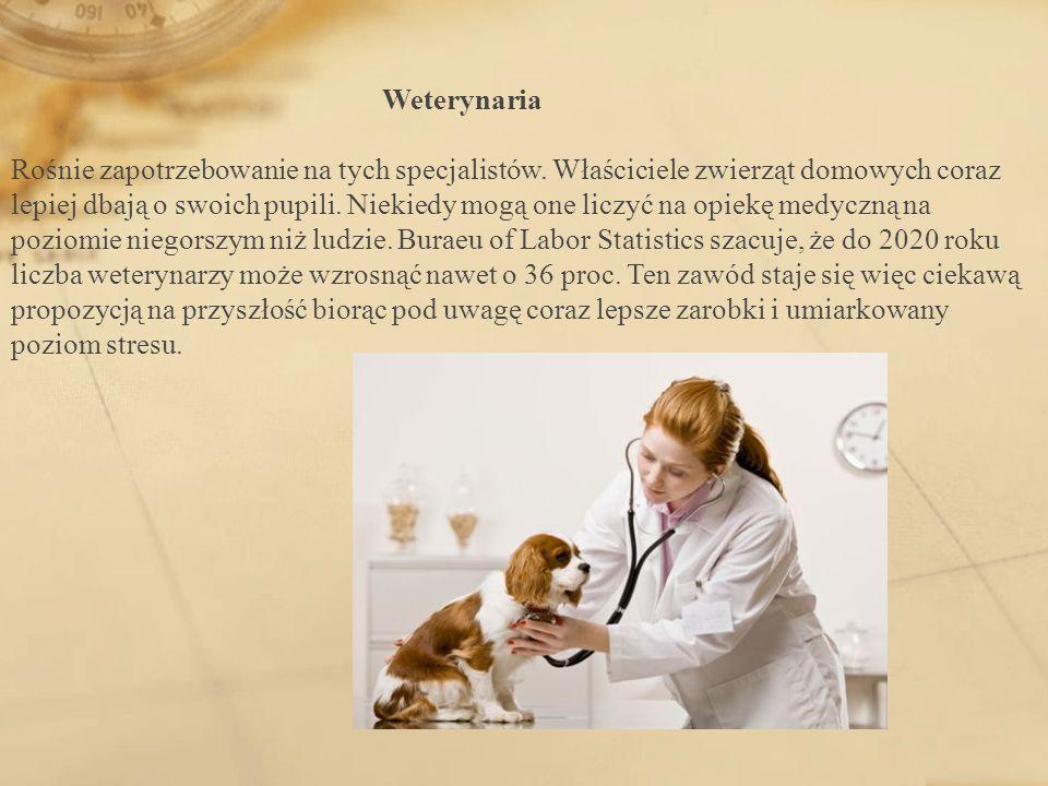 Weterynaria Rośnie zapotrzebowanie na tych specjalistów. Właściciele zwierząt domowych coraz lepiej dbają o swoich pupili. Niekiedy mogą one liczyć na