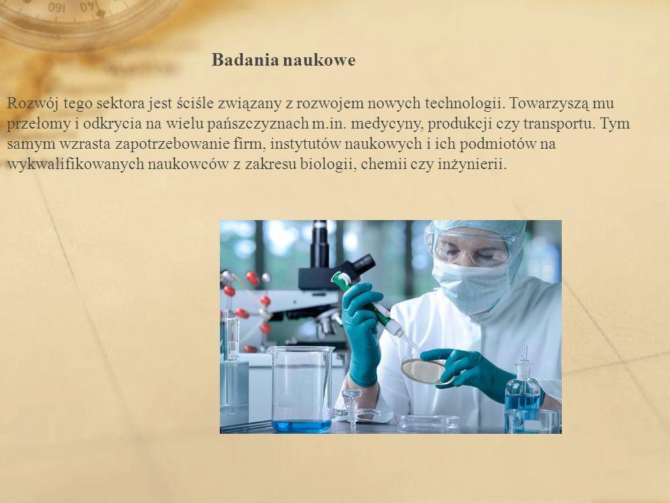 Badania naukowe Rozwój tego sektora jest ściśle związany z rozwojem nowych technologii. Towarzyszą mu przełomy i odkrycia na wielu pańszczyznach m.in.