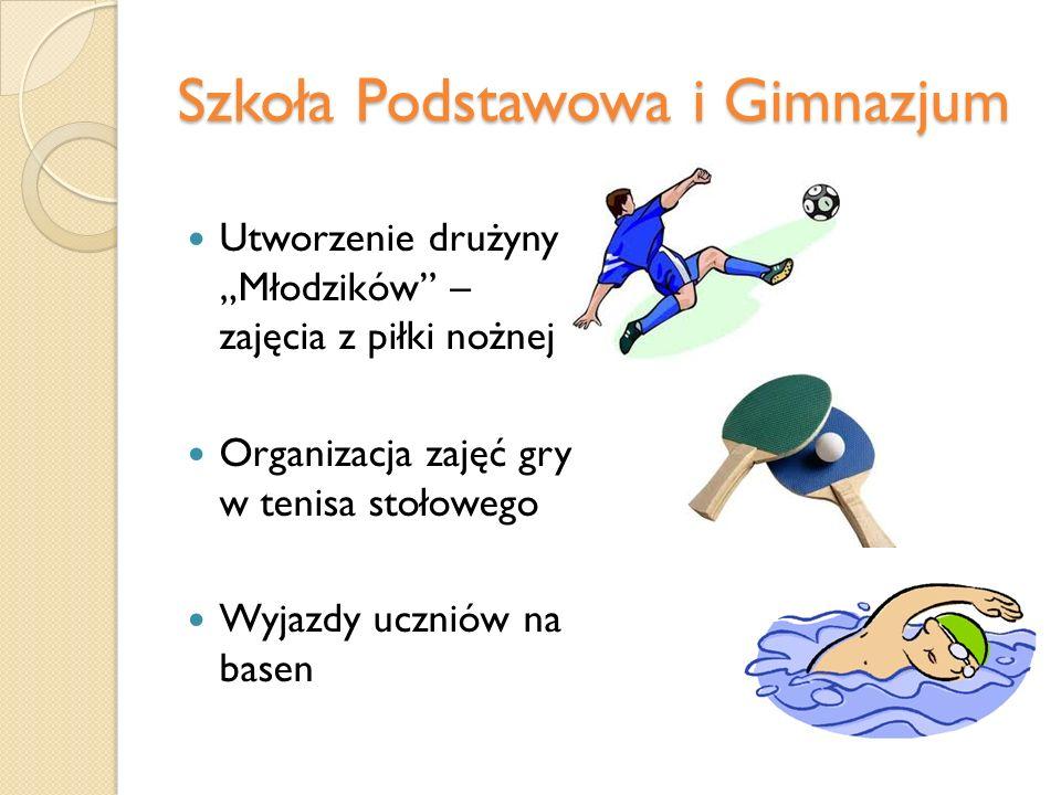 Szkoła Podstawowa i Gimnazjum Utworzenie drużyny Młodzików – zajęcia z piłki nożnej Organizacja zajęć gry w tenisa stołowego Wyjazdy uczniów na basen