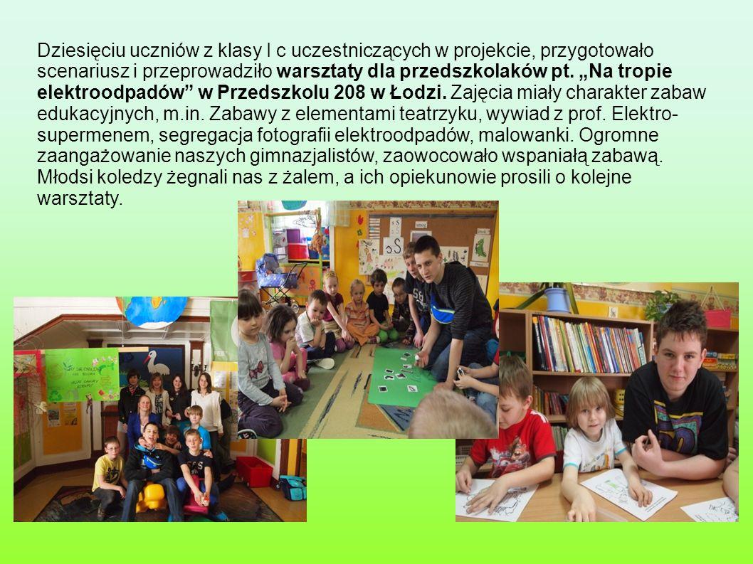 Dziesięciu uczniów z klasy I c uczestniczących w projekcie, przygotowało scenariusz i przeprowadziło warsztaty dla przedszkolaków pt. Na tropie elektr