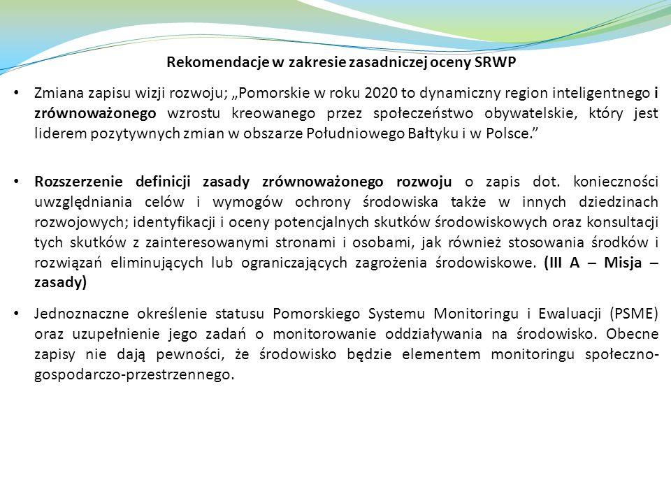 Rekomendacje w zakresie zasadniczej oceny SRWP Zmiana zapisu wizji rozwoju; Pomorskie w roku 2020 to dynamiczny region inteligentnego i zrównoważonego wzrostu kreowanego przez społeczeństwo obywatelskie, który jest liderem pozytywnych zmian w obszarze Południowego Bałtyku i w Polsce.