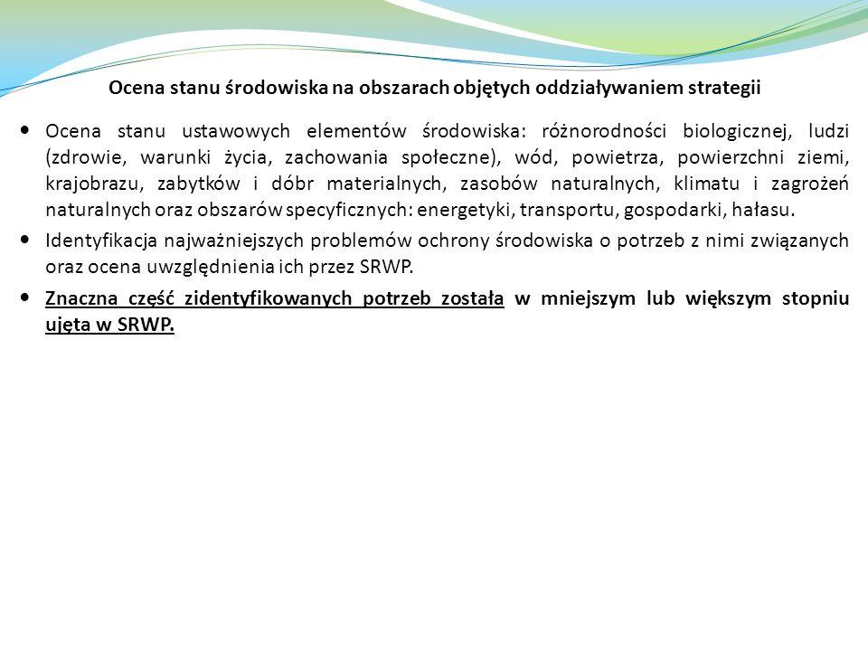 Ocena stanu środowiska na obszarach objętych oddziaływaniem strategii Ocena stanu ustawowych elementów środowiska: różnorodności biologicznej, ludzi (