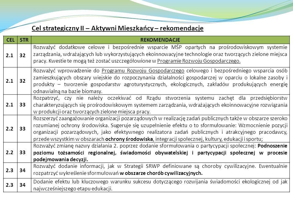 CELSTRREKOMENDACJE 2.132 Rozważyć dodatkowe celowe i bezpośrednie wsparcie MŚP opartych na prośrodowiskowym systemie zarządzania, wdrażających lub wyk