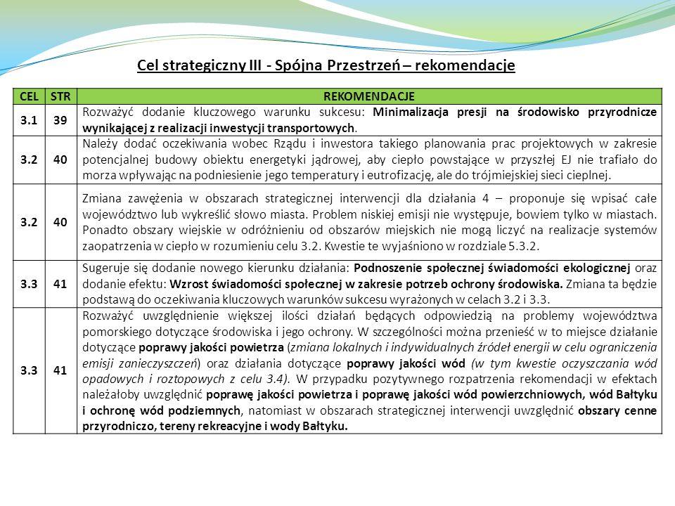 CELSTRREKOMENDACJE 3.139 Rozważyć dodanie kluczowego warunku sukcesu: Minimalizacja presji na środowisko przyrodnicze wynikającej z realizacji inwesty