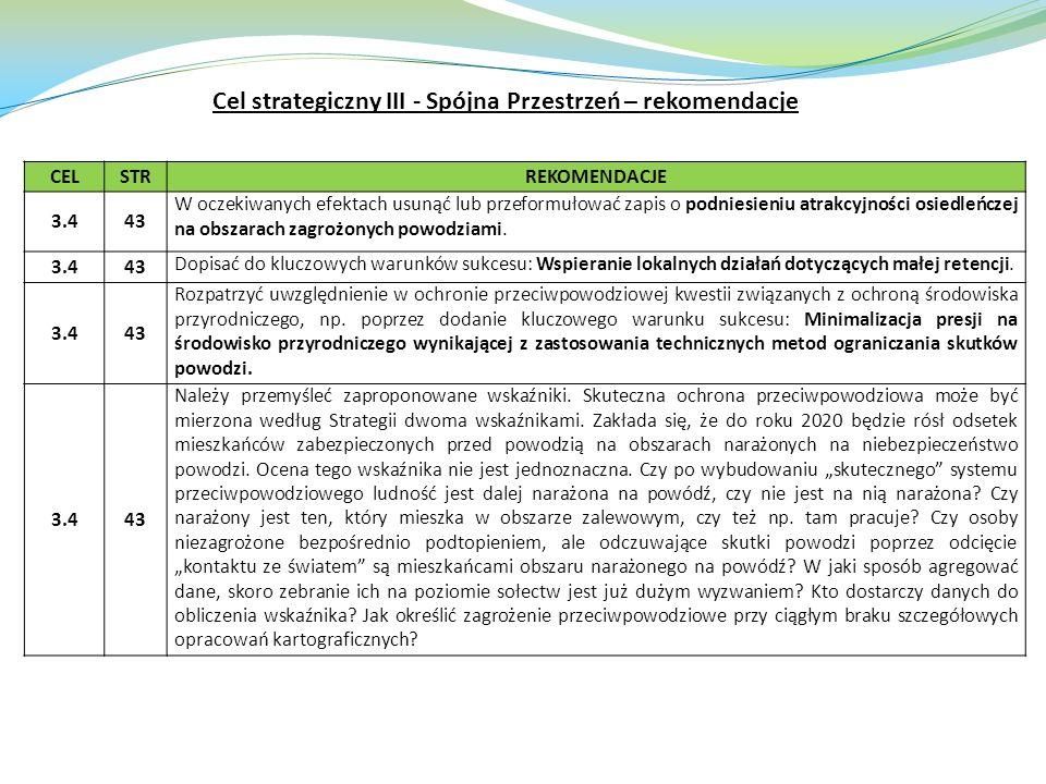 CELSTRREKOMENDACJE 3.443 W oczekiwanych efektach usunąć lub przeformułować zapis o podniesieniu atrakcyjności osiedleńczej na obszarach zagrożonych powodziami.