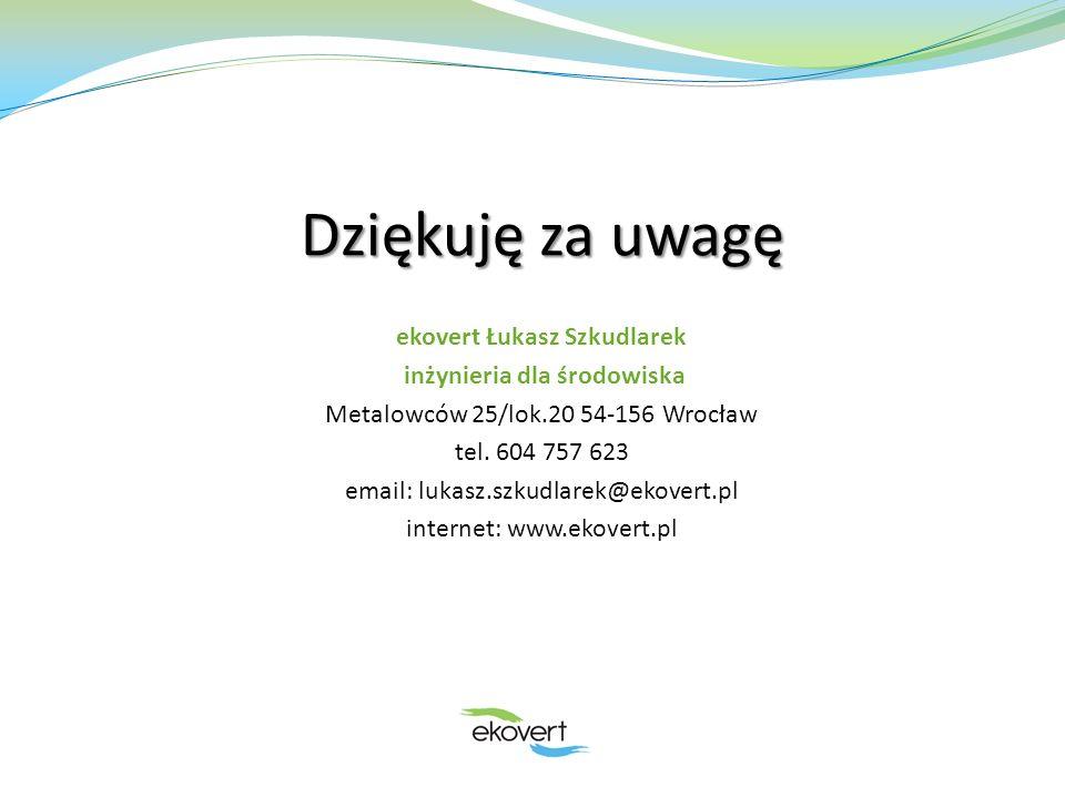 Dziękuję za uwagę ekovert Łukasz Szkudlarek inżynieria dla środowiska Metalowców 25/lok.20 54-156 Wrocław tel. 604 757 623 email: lukasz.szkudlarek@ek