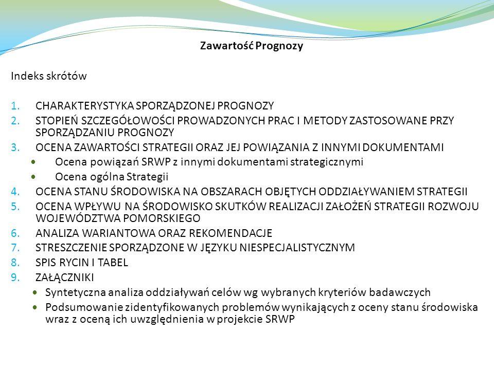 Zawartość Prognozy Indeks skrótów 1.CHARAKTERYSTYKA SPORZĄDZONEJ PROGNOZY 2.