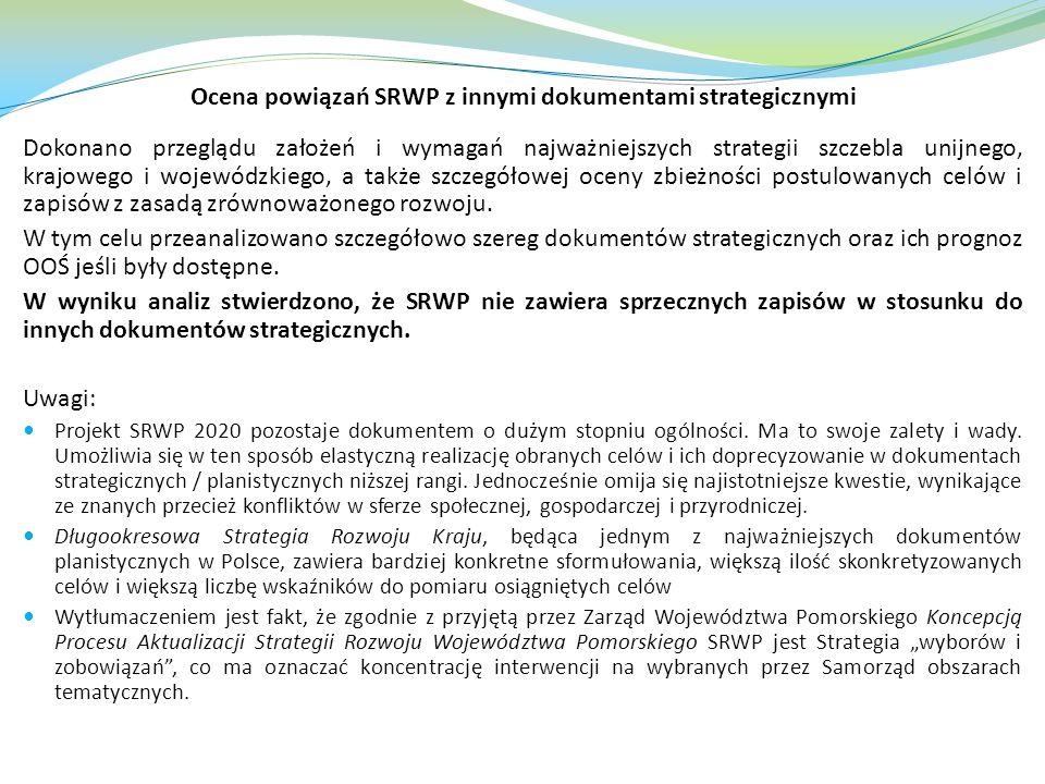Ocena powiązań SRWP z innymi dokumentami strategicznymi Dokonano przeglądu założeń i wymagań najważniejszych strategii szczebla unijnego, krajowego i wojewódzkiego, a także szczegółowej oceny zbieżności postulowanych celów i zapisów z zasadą zrównoważonego rozwoju.