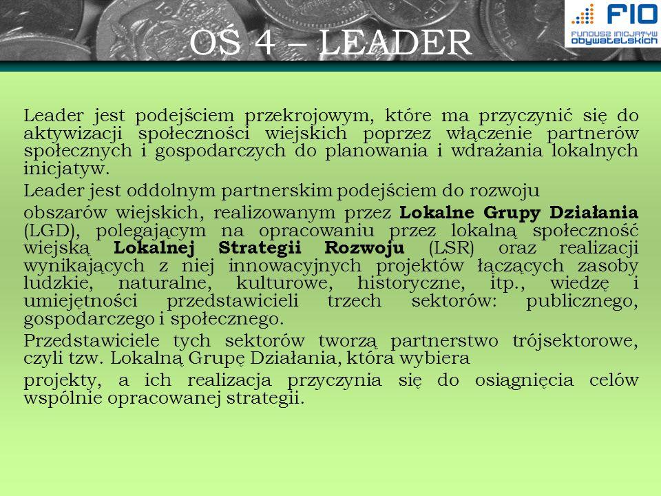 OŚ 4 – LEADER Leader jest podejściem przekrojowym, które ma przyczynić się do aktywizacji społeczności wiejskich poprzez włączenie partnerów społeczny