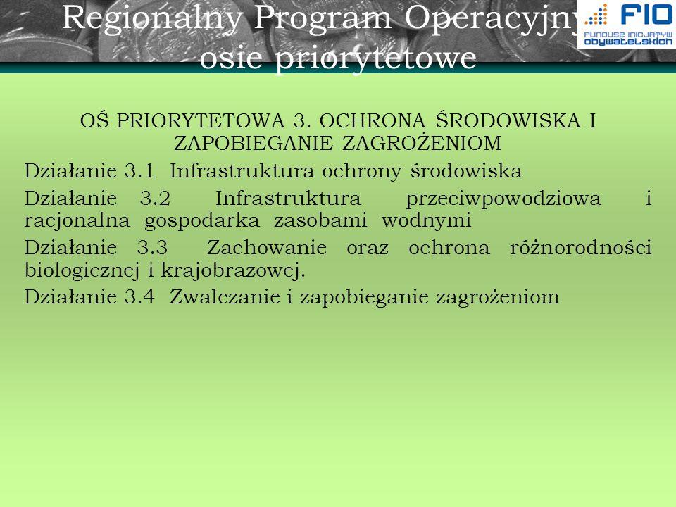 Regionalny Program Operacyjny - osie priorytetowe OŚ PRIORYTETOWA 3. OCHRONA ŚRODOWISKA I ZAPOBIEGANIE ZAGROŻENIOM Działanie 3.1 Infrastruktura ochron