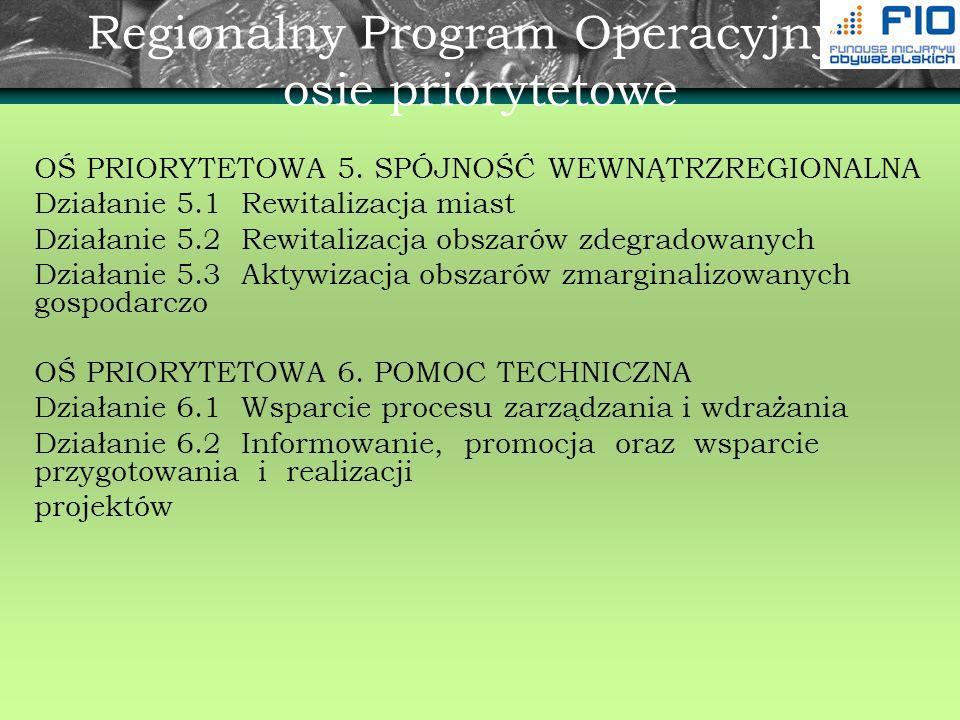 Regionalny Program Operacyjny - osie priorytetowe OŚ PRIORYTETOWA 5. SPÓJNOŚĆ WEWNĄTRZREGIONALNA Działanie 5.1 Rewitalizacja miast Działanie 5.2 Rewit