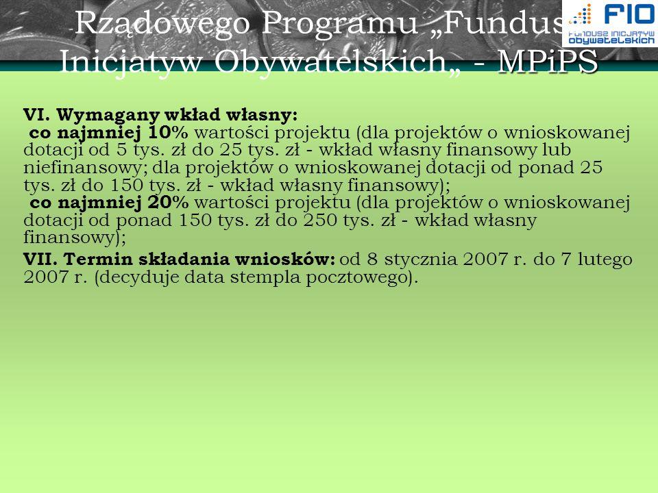 MPiPS Rządowego Programu Fundusz Inicjatyw Obywatelskich - MPiPS VI. Wymagany wkład własny: co najmniej 10% wartości projektu (dla projektów o wniosko