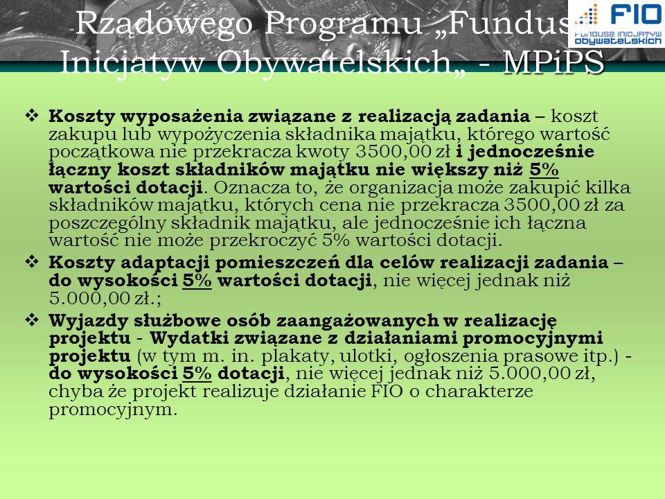 MPiPS Rządowego Programu Fundusz Inicjatyw Obywatelskich - MPiPS Koszty wyposażenia związane z realizacją zadania – koszt zakupu lub wypożyczenia skła