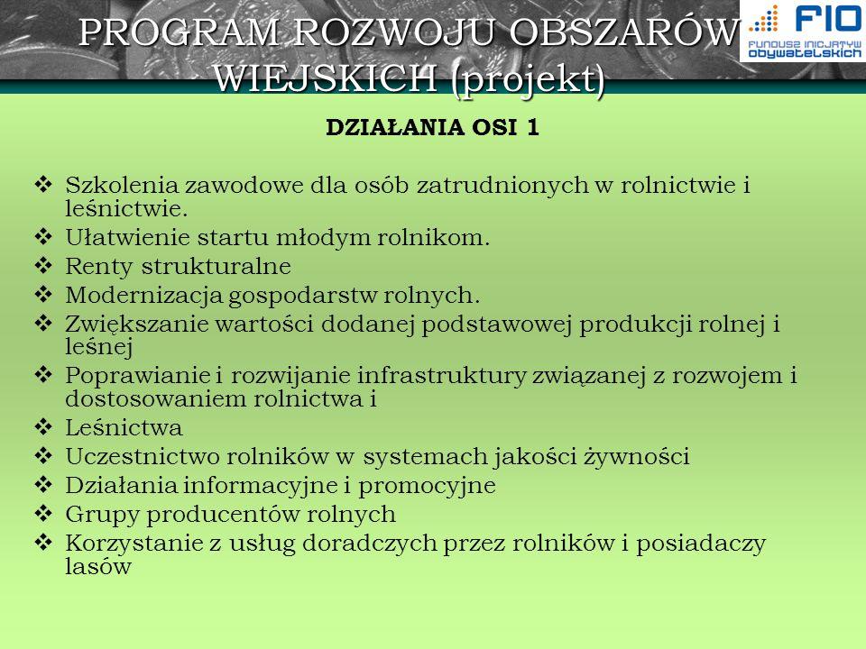PROGRAM ROZWOJU OBSZARÓW WIEJSKICH (projekt) DZIAŁANIA OSI 2 Wspieranie gospodarowania na obszarach górskich i innych obszarach o niekorzystnych warunkach gospodarowania (ONW) Płatności dla obszarów Natura 2000 oraz związanych z wdrażaniem Ramowej Dyrektywy Wodnej Program rolnośrodowiskowy (płatności rolnośrodowiskowe) Zalesianie gruntów rolnych oraz zalesianie gruntów innych niż rolne Odtwarzanie potencjału produkcji leśnej zniszczonego przez katastrofy i wprowadzanie instrumentów zapobiegawczych.