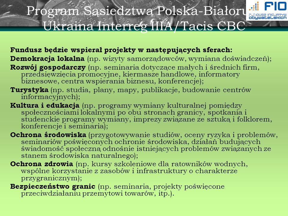 Program Sąsiedztwa Polska-Białoruś- Ukraina Interreg IIIA/Tacis CBC Fundusz będzie wspierał projekty w następujących sferach: Demokracja lokalna (np.