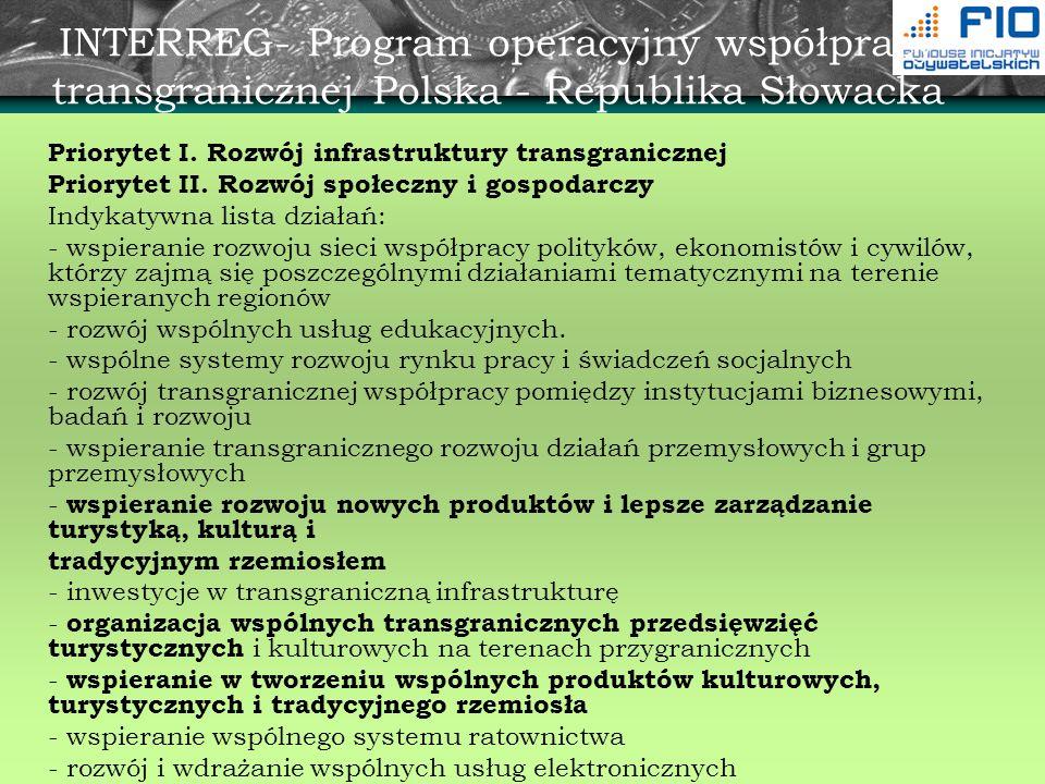 INTERREG- Program operacyjny współpracy transgranicznej Polska - Republika Słowacka Priorytet I. Rozwój infrastruktury transgranicznej Priorytet II. R