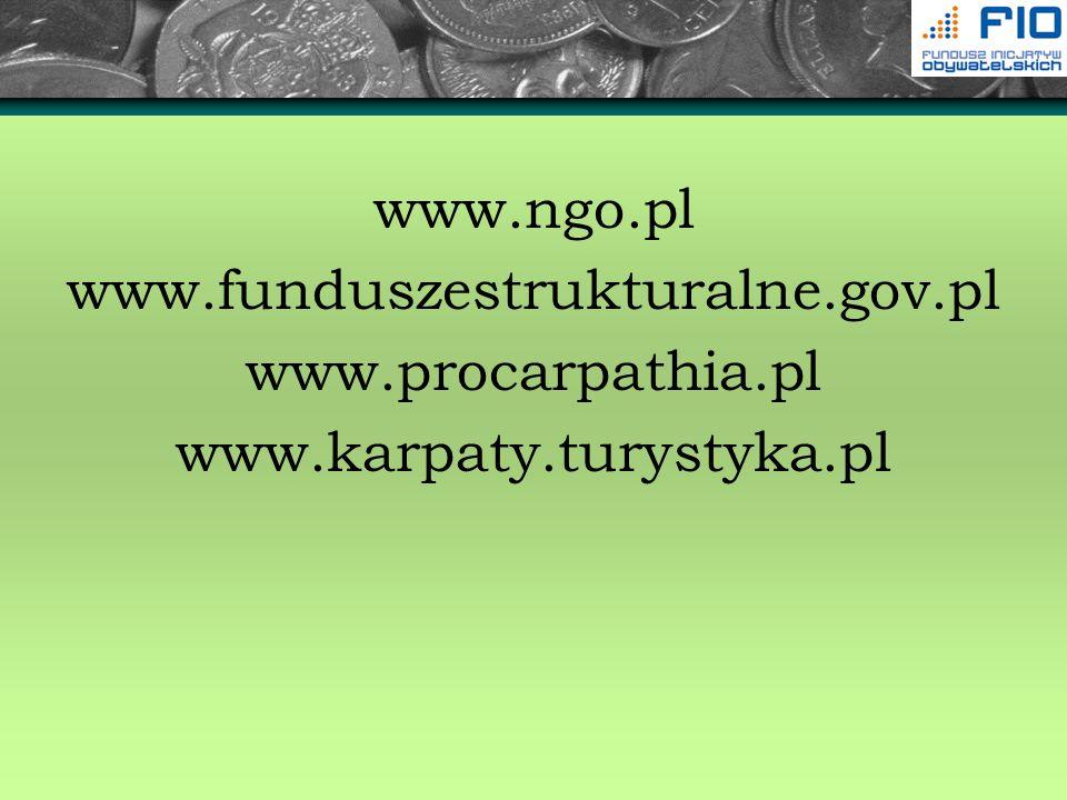 www.ngo.pl www.funduszestrukturalne.gov.pl www.procarpathia.pl www.karpaty.turystyka.pl