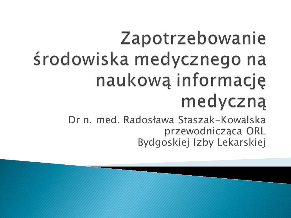 Dr n. med. Radosława Staszak-Kowalska przewodnicząca ORL Bydgoskiej Izby Lekarskiej