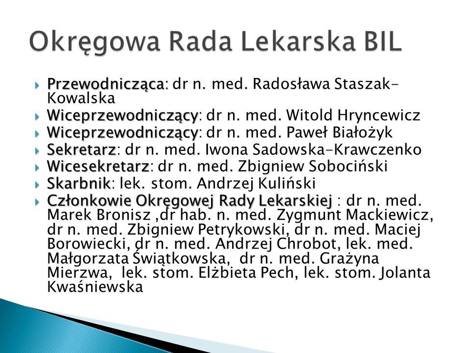 Przewodnicząca: Przewodnicząca: dr n. med. Radosława Staszak- Kowalska Wiceprzewodniczący Wiceprzewodniczący: dr n. med. Witold Hryncewicz Wiceprzewod
