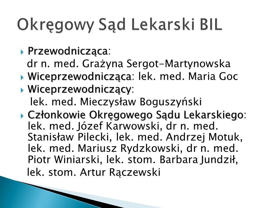 Przewodnicząca Przewodnicząca: dr n. med. Grażyna Sergot-Martynowska Wiceprzewodnicząca Wiceprzewodnicząca: lek. med. Maria Goc Wiceprzewodniczący Wic