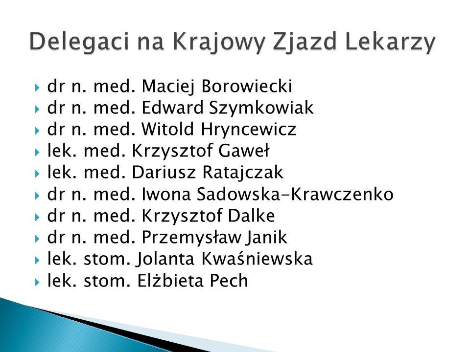 dr n. med. Maciej Borowiecki dr n. med. Edward Szymkowiak dr n. med. Witold Hryncewicz lek. med. Krzysztof Gaweł lek. med. Dariusz Ratajczak dr n. med