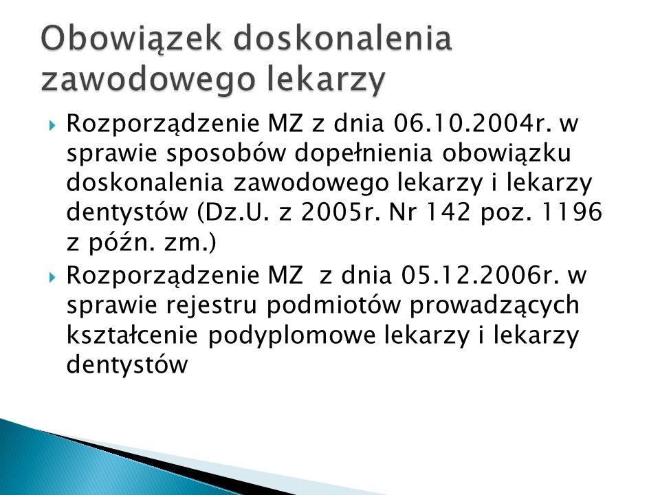 Rozporządzenie MZ z dnia 06.10.2004r. w sprawie sposobów dopełnienia obowiązku doskonalenia zawodowego lekarzy i lekarzy dentystów (Dz.U. z 2005r. Nr