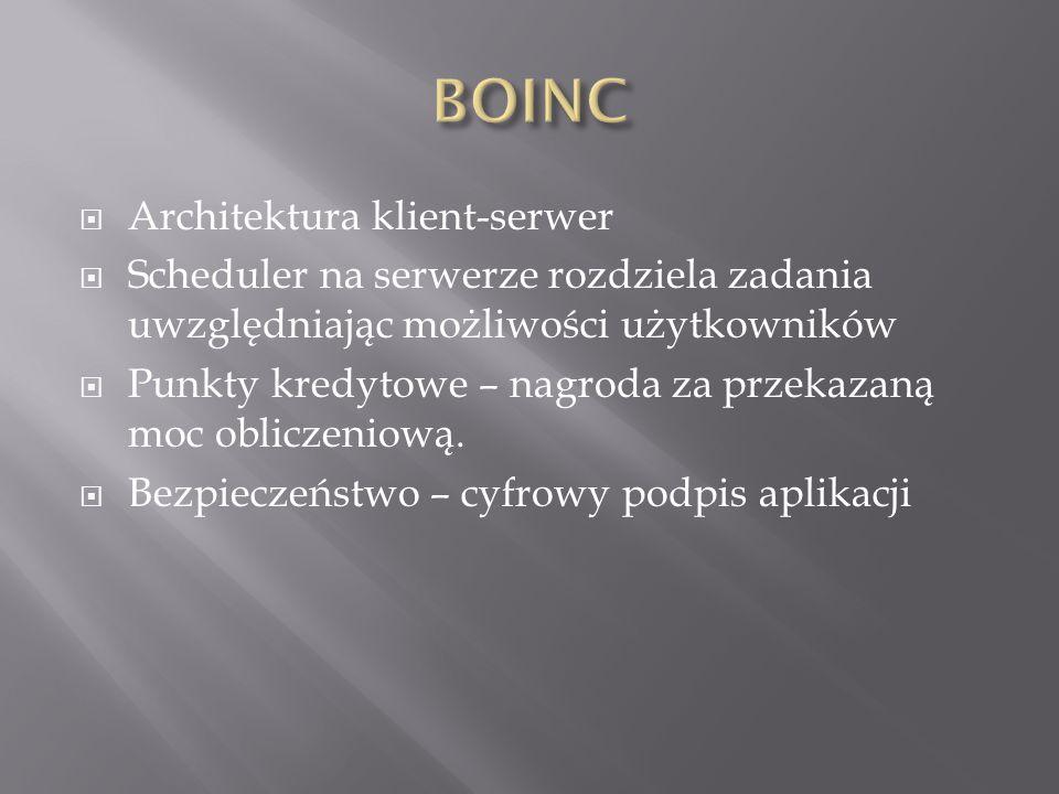 Architektura klient-serwer Scheduler na serwerze rozdziela zadania uwzględniając możliwości użytkowników Punkty kredytowe – nagroda za przekazaną moc obliczeniową.