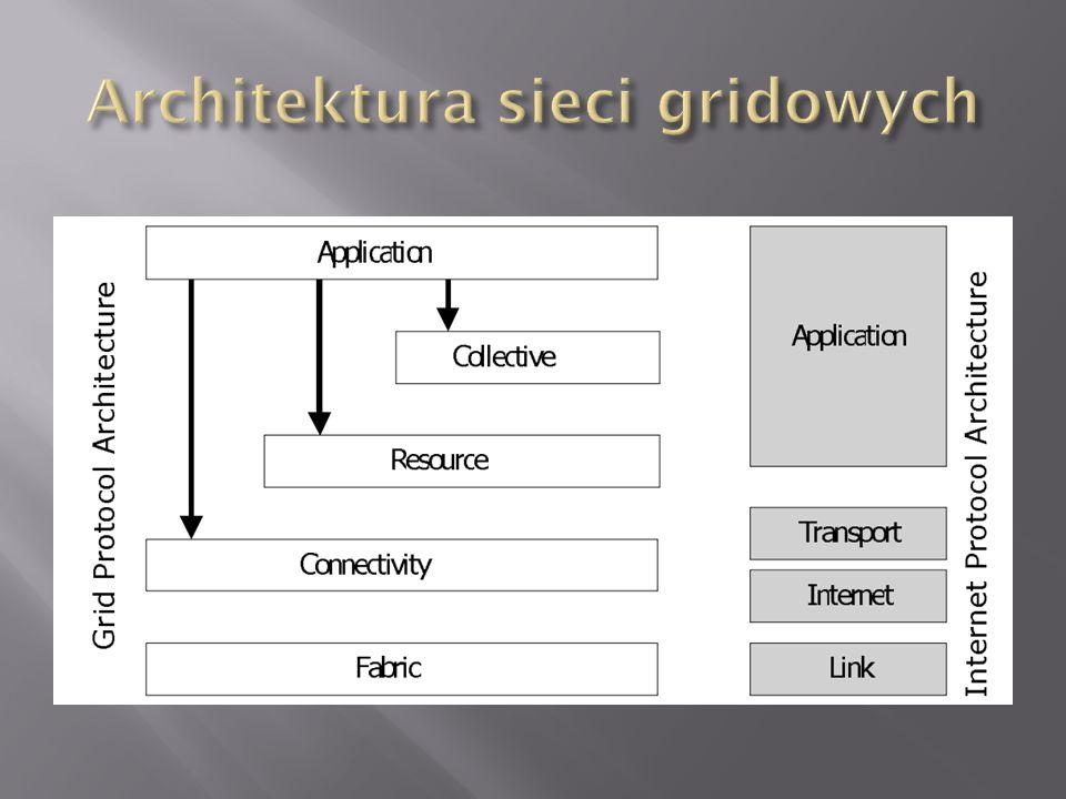 Warstwa ta udostępnia zasoby współdzielone przez grid: Zasoby sieciowe/dyskowe Procesory Itp...