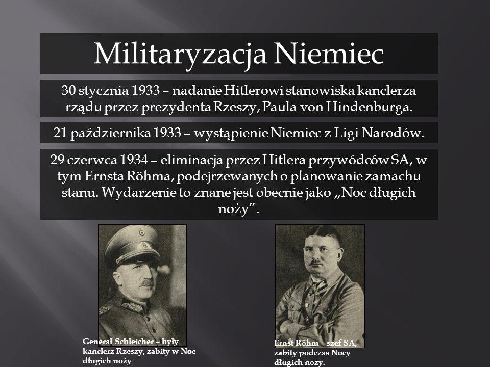 30 stycznia 1933 – nadanie Hitlerowi stanowiska kanclerza rządu przez prezydenta Rzeszy, Paula von Hindenburga. 29 czerwca 1934 – eliminacja przez Hit
