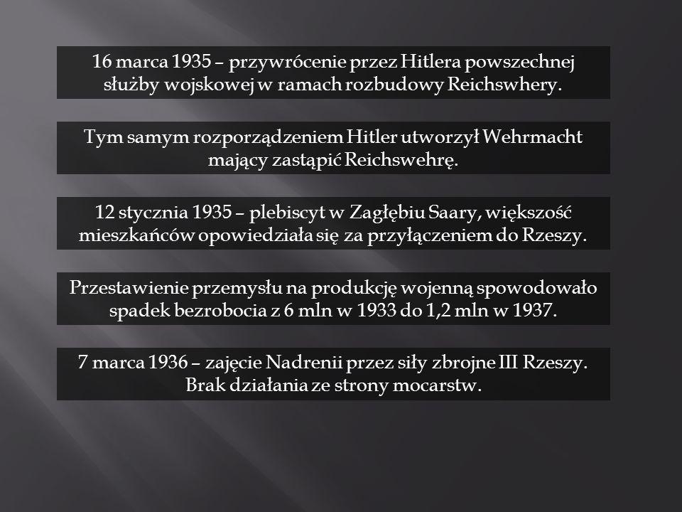 12 stycznia 1935 – plebiscyt w Zagłębiu Saary, większość mieszkańców opowiedziała się za przyłączeniem do Rzeszy. Przestawienie przemysłu na produkcję