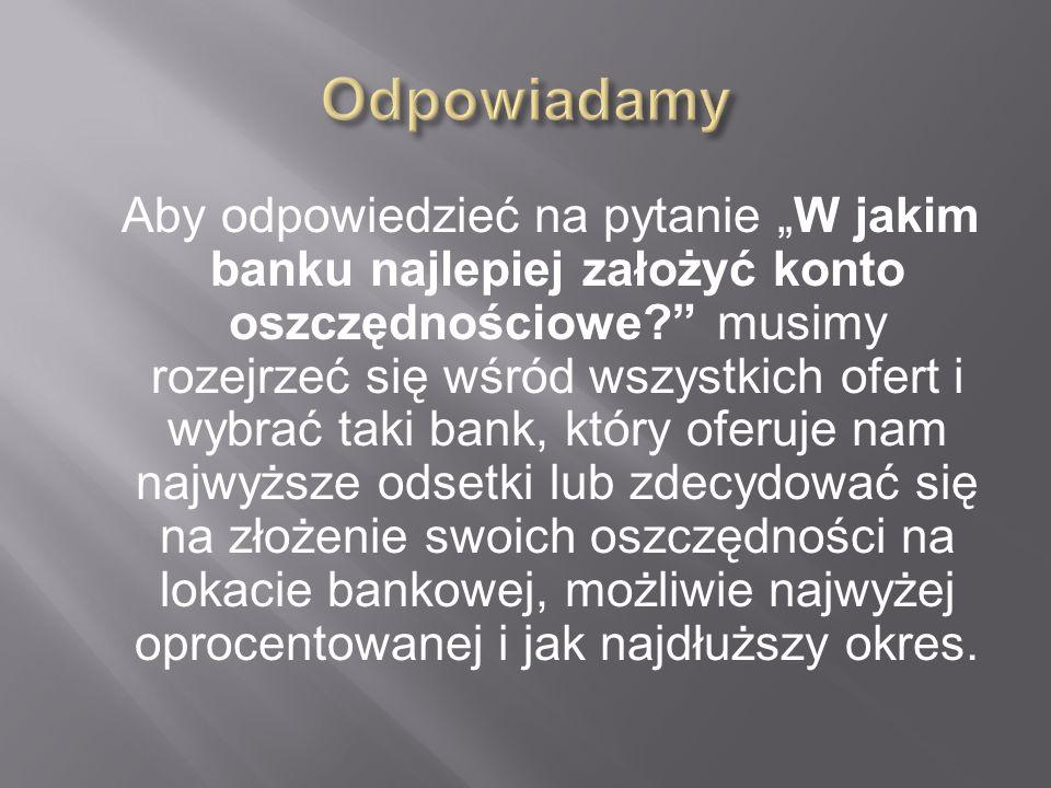 Nazwa bankuOdsetki po podatku Odsetki przed opodatkowaniem Oprocentowanie 1.FM Bank Lokata w PLN z kapitalizacją codzienną BANK 560 PLN 691 PLN 6.91 %