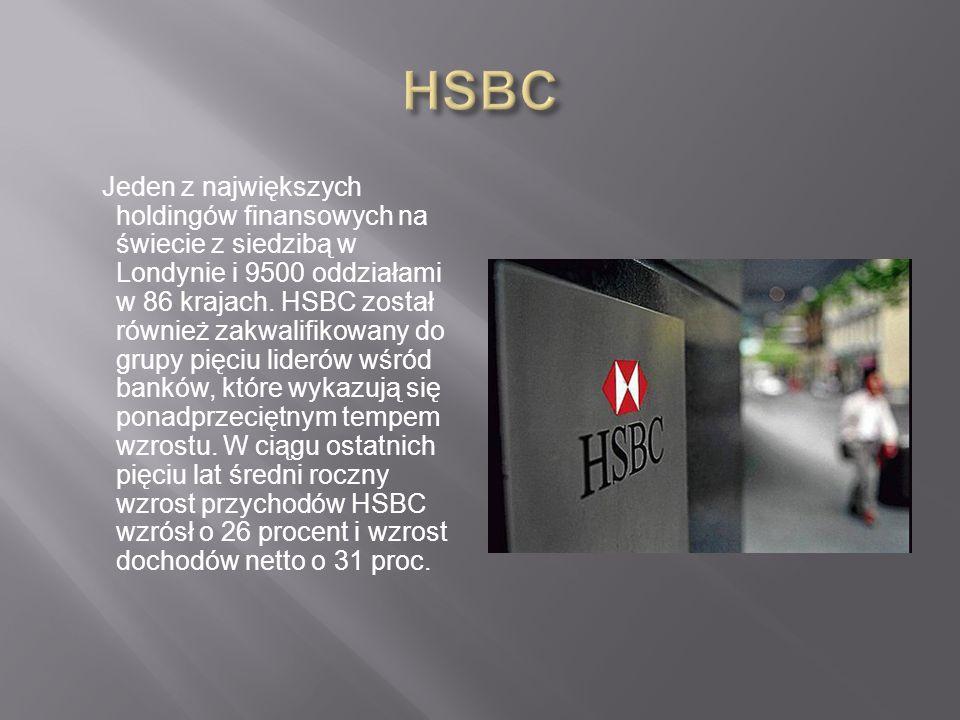 Jeden z największych holdingów finansowych na świecie z siedzibą w Londynie i 9500 oddziałami w 86 krajach.