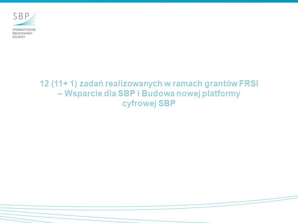 12 (11+ 1) zadań realizowanych w ramach grantów FRSI – Wsparcie dla SBP i Budowa nowej platformy cyfrowej SBP