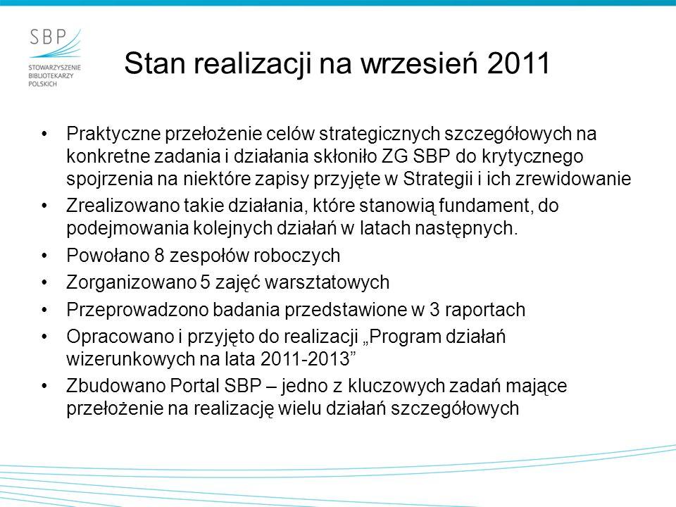 Stan realizacji na wrzesień 2011 Praktyczne przełożenie celów strategicznych szczegółowych na konkretne zadania i działania skłoniło ZG SBP do krytycznego spojrzenia na niektóre zapisy przyjęte w Strategii i ich zrewidowanie Zrealizowano takie działania, które stanowią fundament, do podejmowania kolejnych działań w latach następnych.