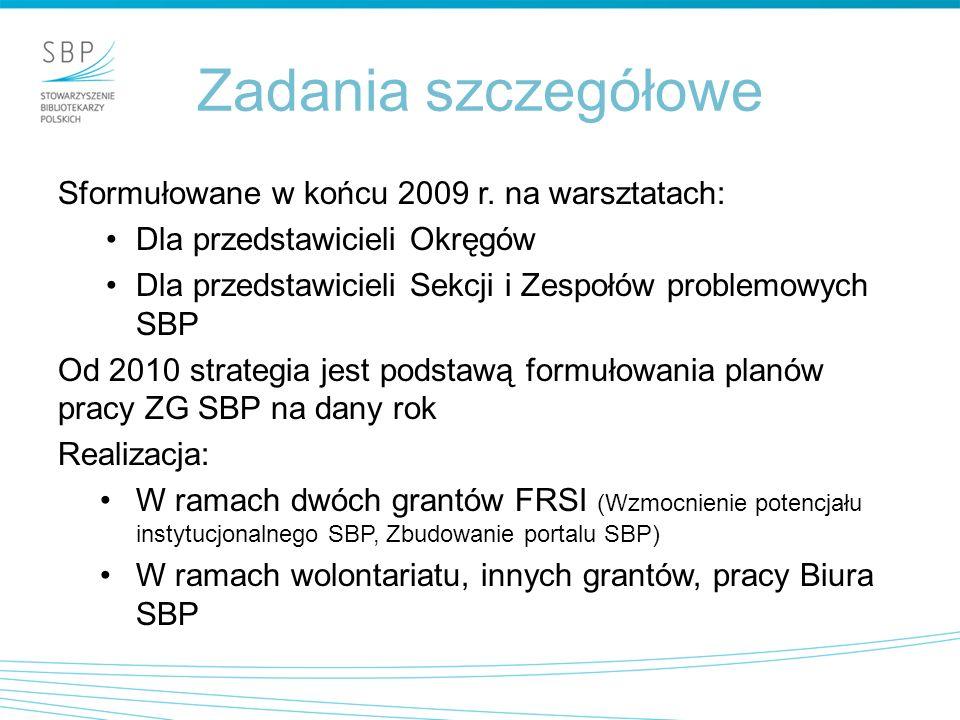Zadania szczegółowe Sformułowane w końcu 2009 r.