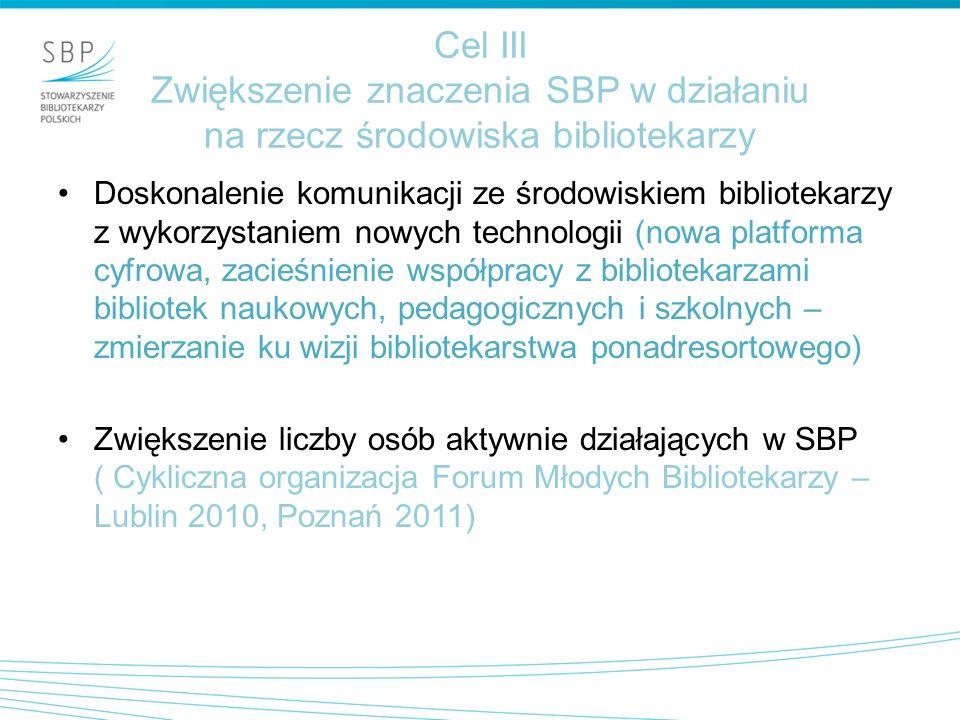 Cel III Zwiększenie znaczenia SBP w działaniu na rzecz środowiska bibliotekarzy Doskonalenie komunikacji ze środowiskiem bibliotekarzy z wykorzystaniem nowych technologii (nowa platforma cyfrowa, zacieśnienie współpracy z bibliotekarzami bibliotek naukowych, pedagogicznych i szkolnych – zmierzanie ku wizji bibliotekarstwa ponadresortowego) Zwiększenie liczby osób aktywnie działających w SBP ( Cykliczna organizacja Forum Młodych Bibliotekarzy – Lublin 2010, Poznań 2011)