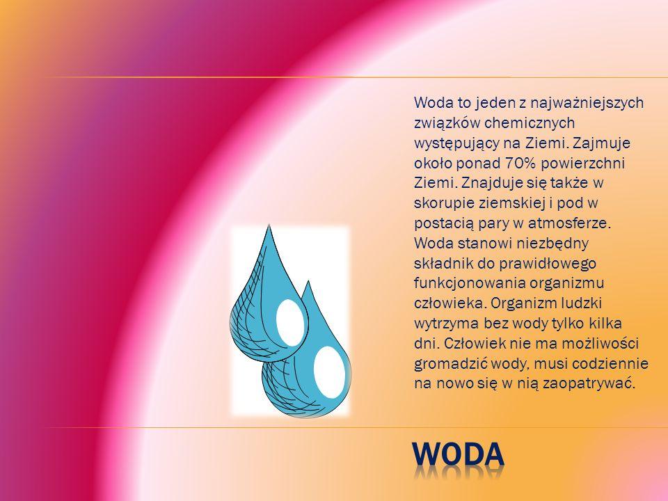 Woda to jeden z najważniejszych związków chemicznych występujący na Ziemi.