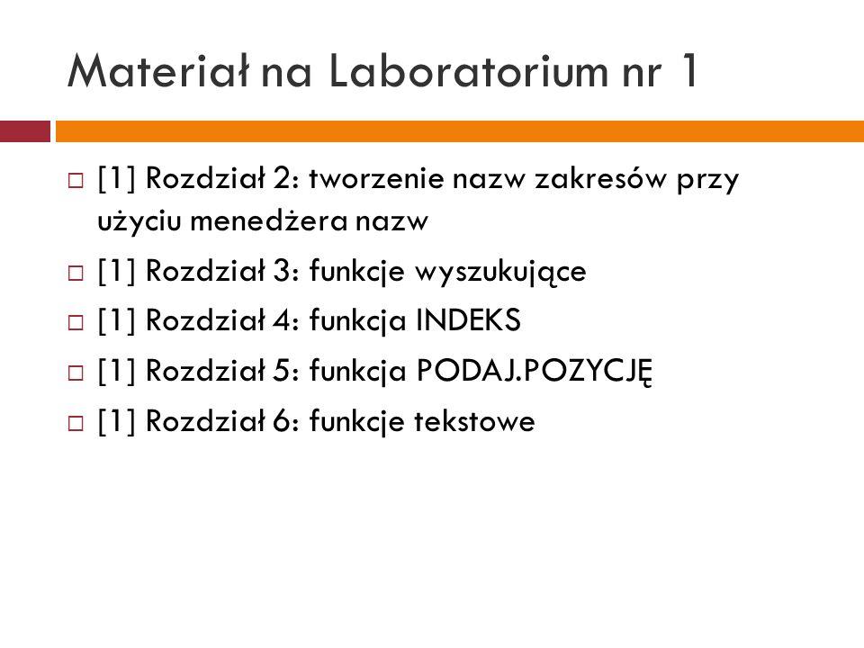 Materiał na Laboratorium nr 2 [1] Rozdział 20: LICZ.JEŻELI, LICZ.WARUNKI, ILE.LICZB, ILE.NIEPUSTYCH, LICZ.PUSTE [1] Rozdział 21-23: SUMA.JEŻELI, PRZESUNIĘCIE, ADR.POŚR [1] Formatowanie warunkowe, Sortowanie