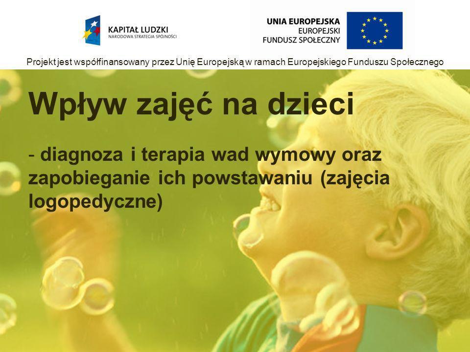 Wpływ zajęć na dzieci - diagnoza i terapia wad wymowy oraz zapobieganie ich powstawaniu (zajęcia logopedyczne) Projekt jest współfinansowany przez Unię Europejską w ramach Europejskiego Funduszu Społecznego