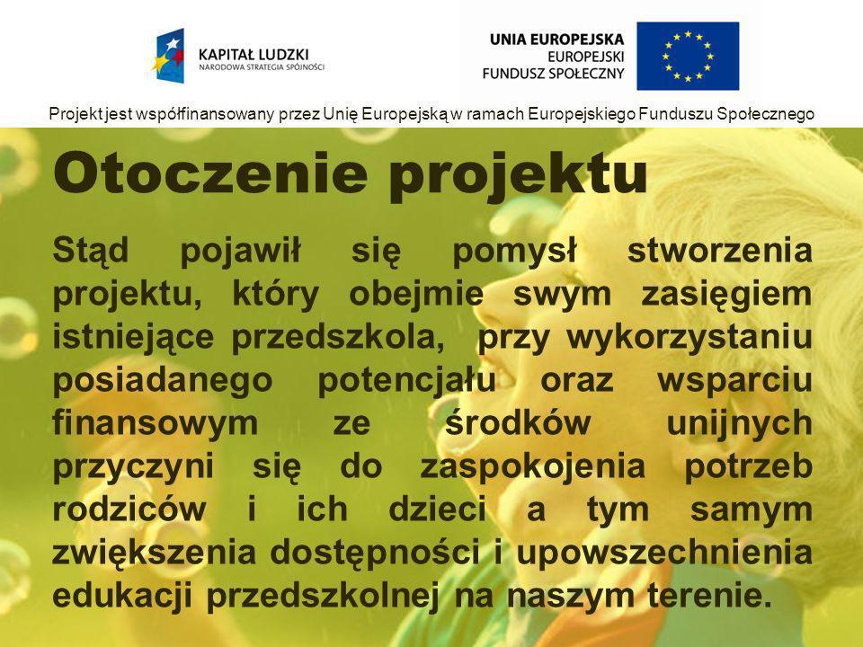 Otoczenie projektu Stąd pojawił się pomysł stworzenia projektu, który obejmie swym zasięgiem istniejące przedszkola, przy wykorzystaniu posiadanego potencjału oraz wsparciu finansowym ze środków unijnych przyczyni się do zaspokojenia potrzeb rodziców i ich dzieci a tym samym zwiększenia dostępności i upowszechnienia edukacji przedszkolnej na naszym terenie.
